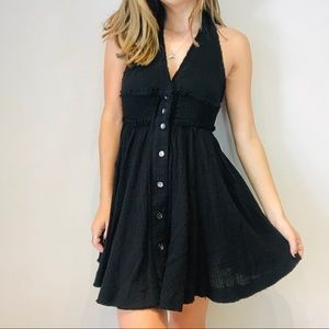 Free People black button backless crepe dress